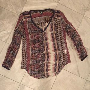 Lucky Brand Sheer Paisley Top